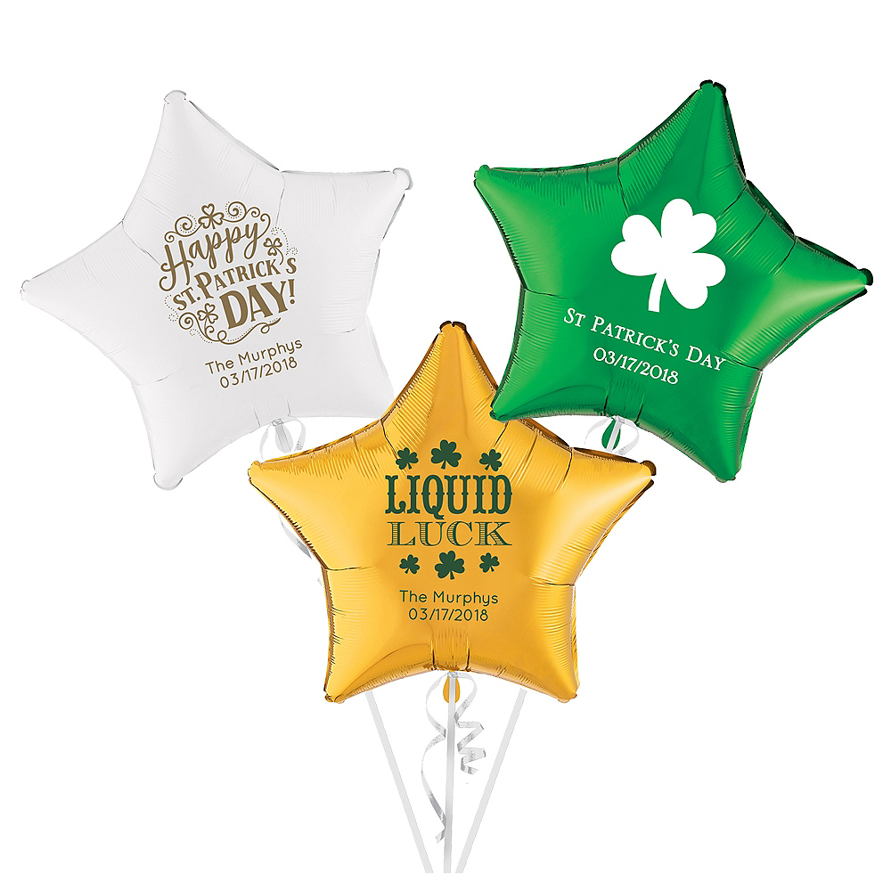 Personalized St. Patrick's Day Star Balloon Image #1