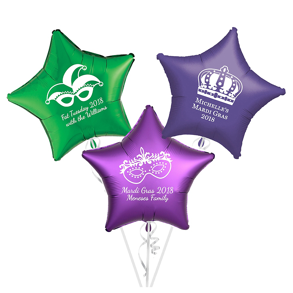 Personalized Mardi Gras Star Balloon Image #1