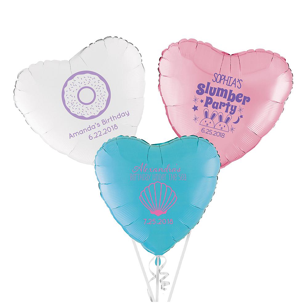Personalized Girls Birthday Heart Balloon Image #1