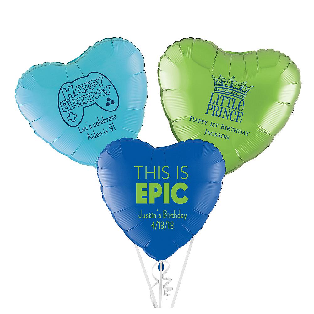 Personalized Boys Birthday Heart Balloon Image #1