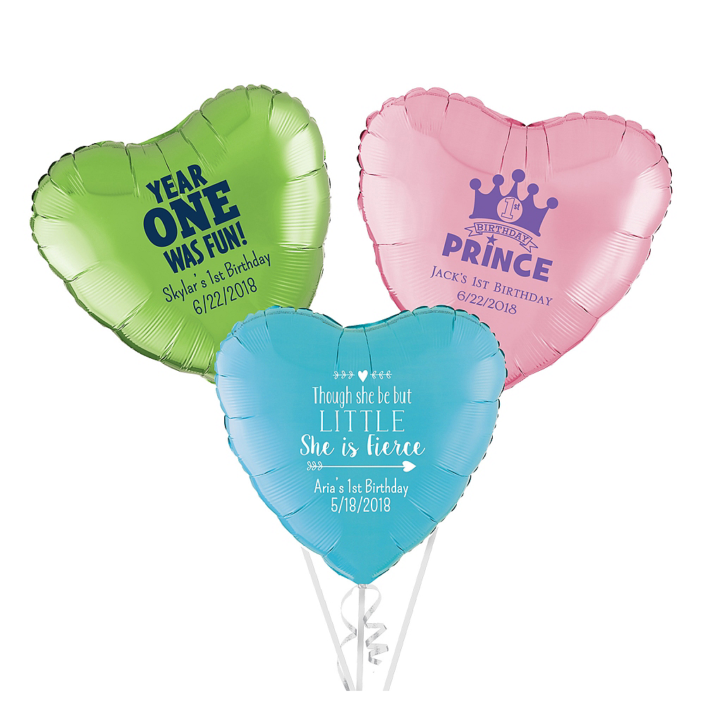 Personalized 1st Birthday Heart Balloon Image #1