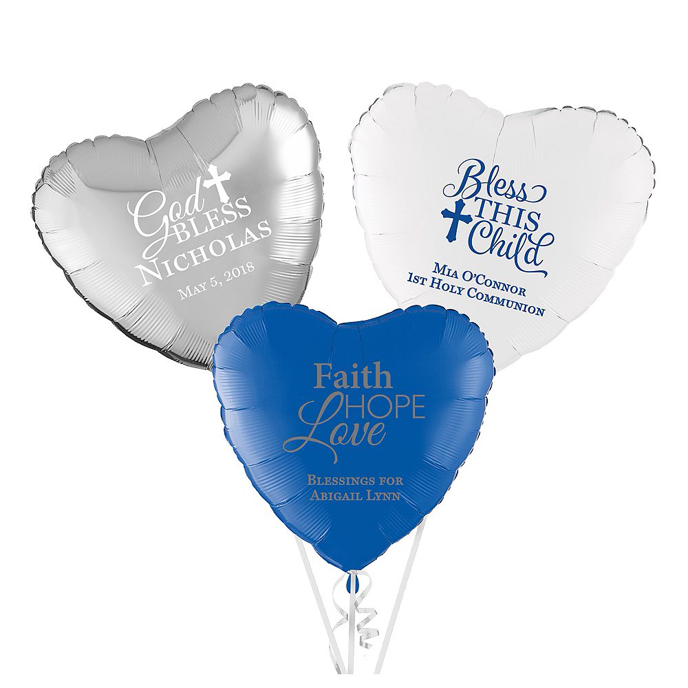 Personalized Communion Heart Balloon Image #1