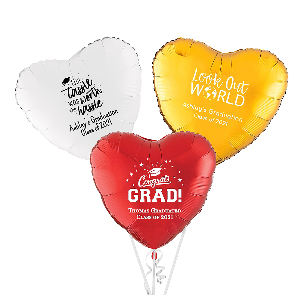 Personalized Graduation Heart Balloon Image #1