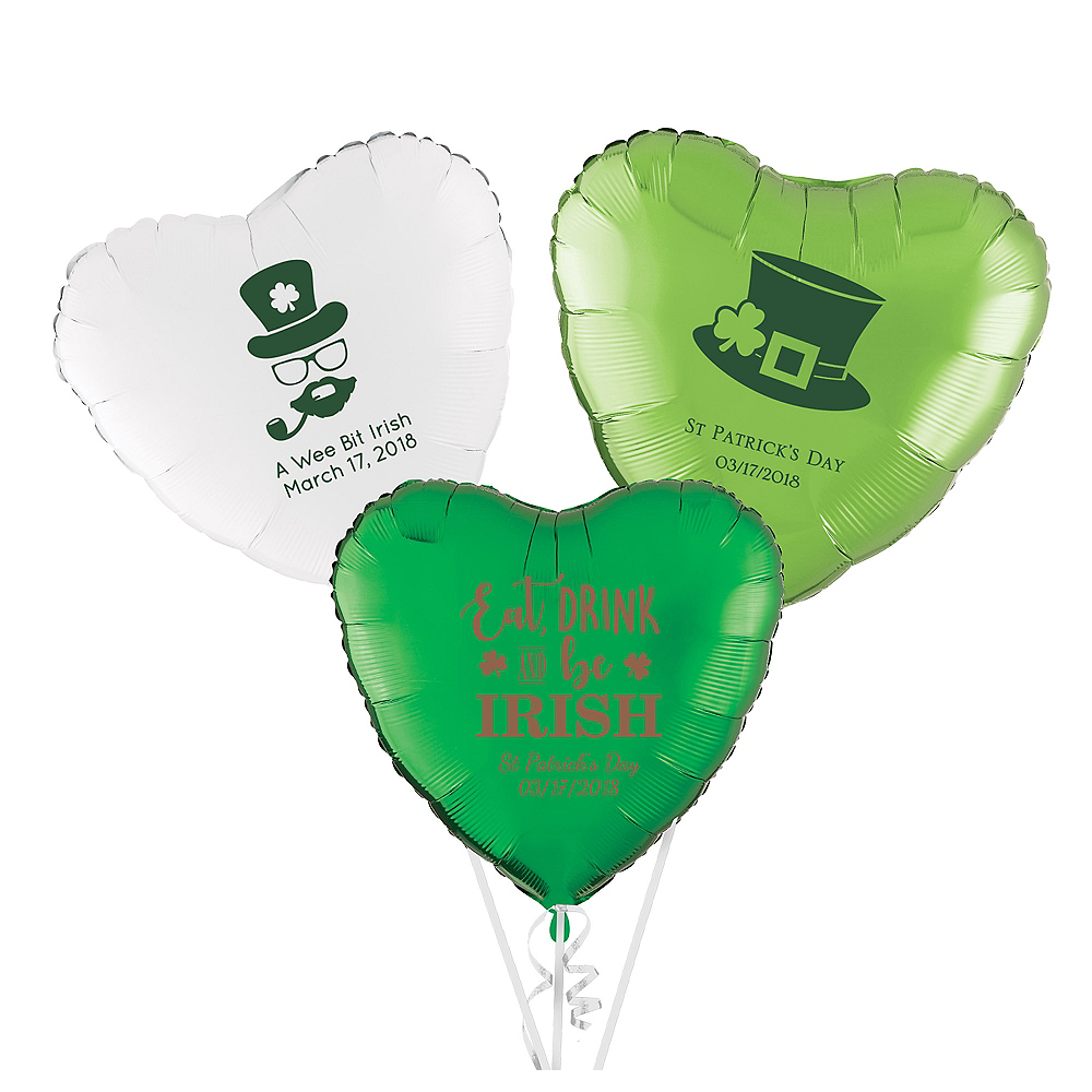 Personalized St. Patrick's Day Heart Balloon Image #1