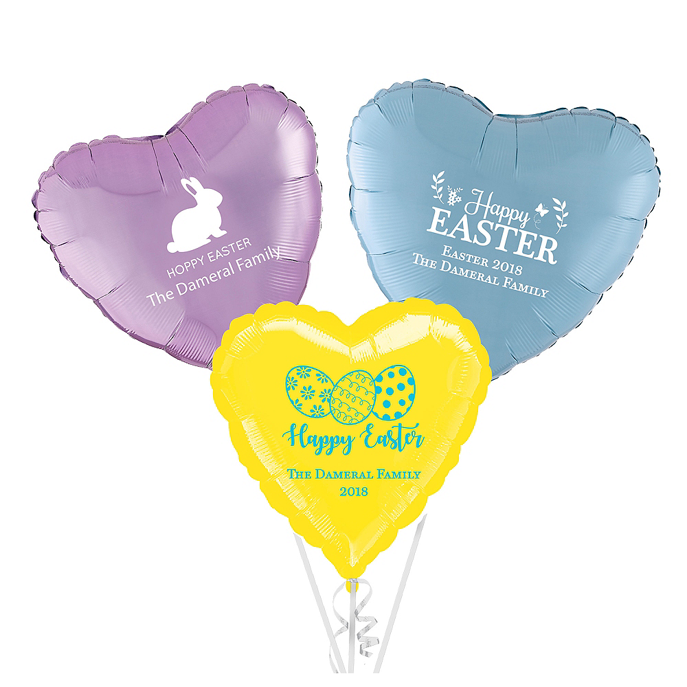 Personalized Easter Heart Balloon Image #1