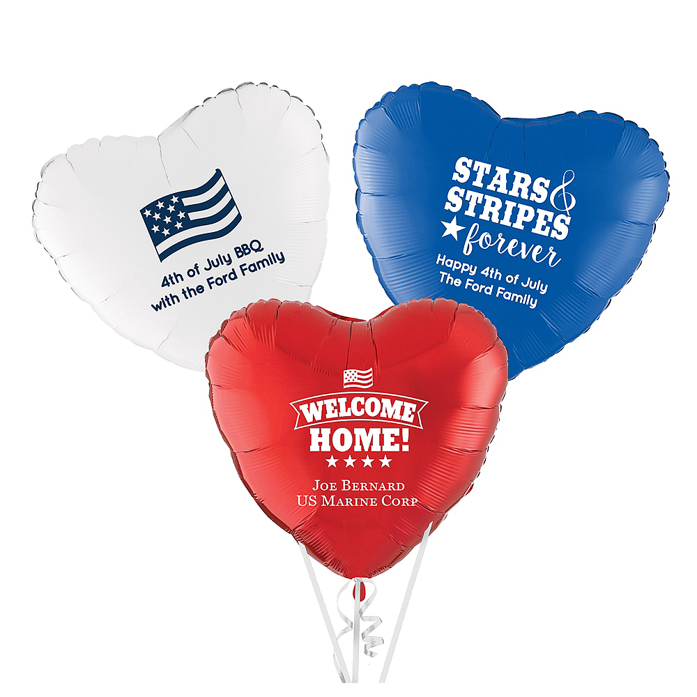 Personalized 4th of July Heart Balloon Image #1
