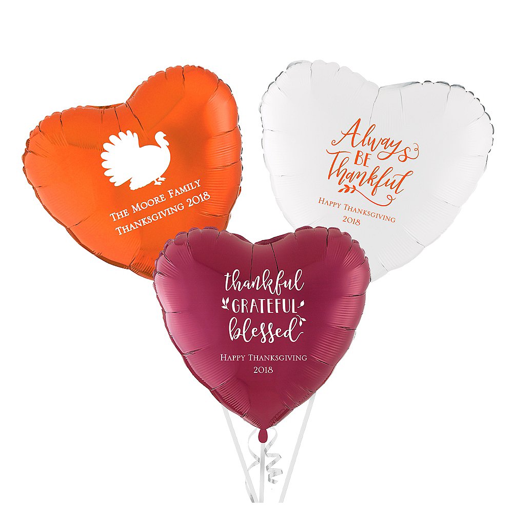 Personalized Thanksgiving Heart Balloon Image #1