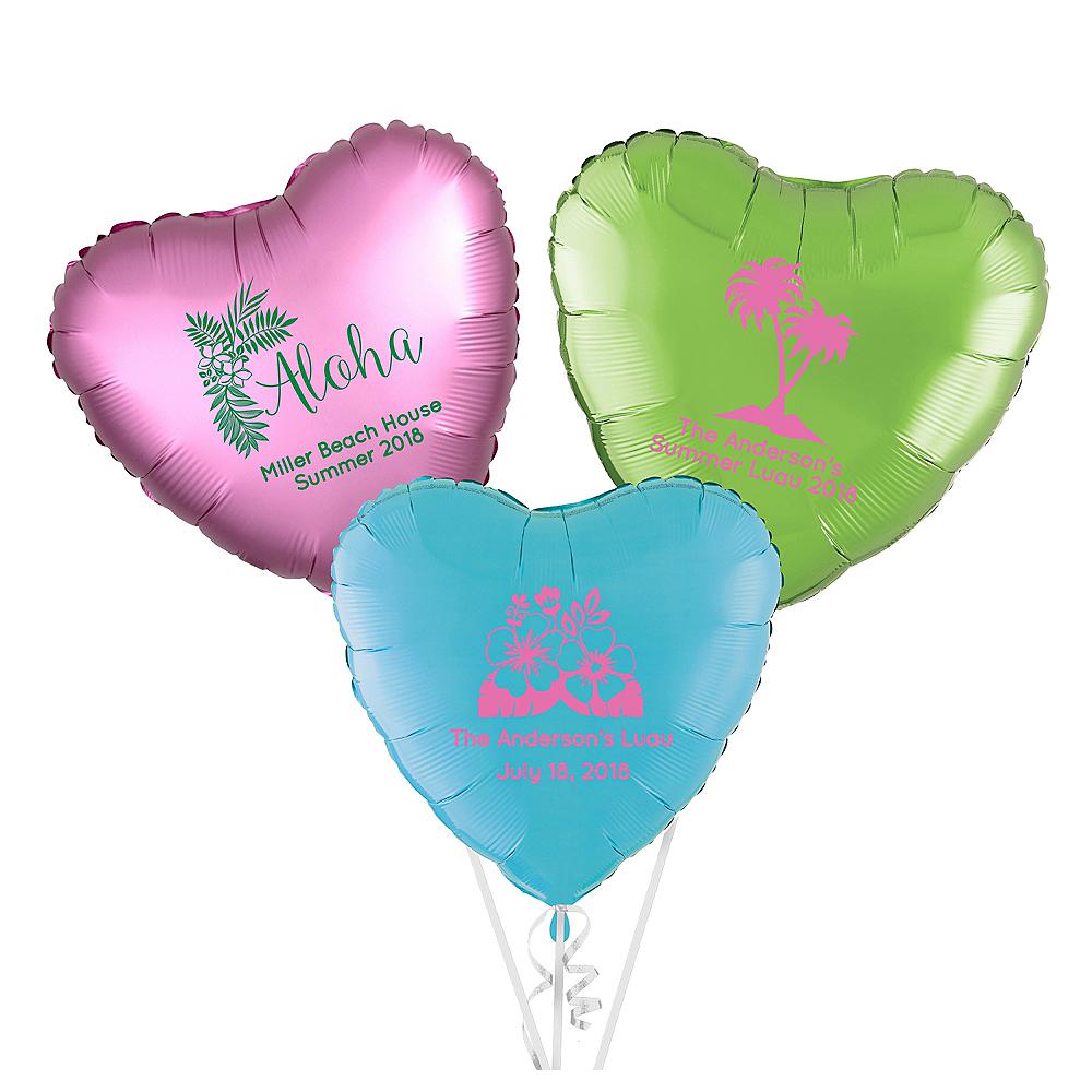Personalized Luau Heart Balloon Image #1