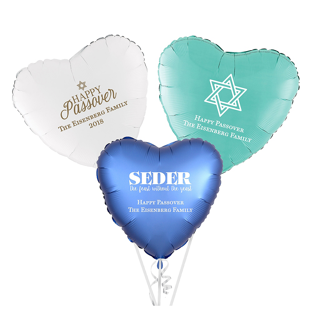 Personalized Passover Heart Balloon Image #1