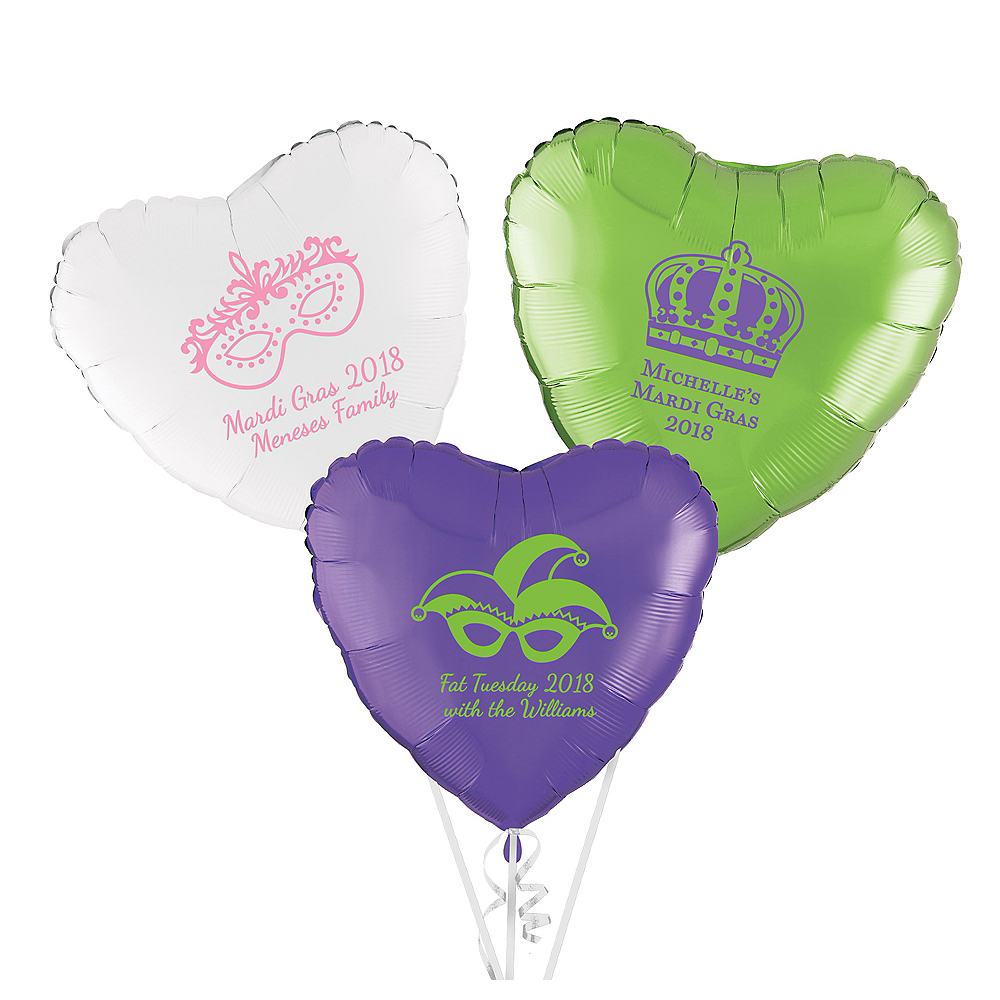 Personalized Mardi Gras Heart Balloon Image #1