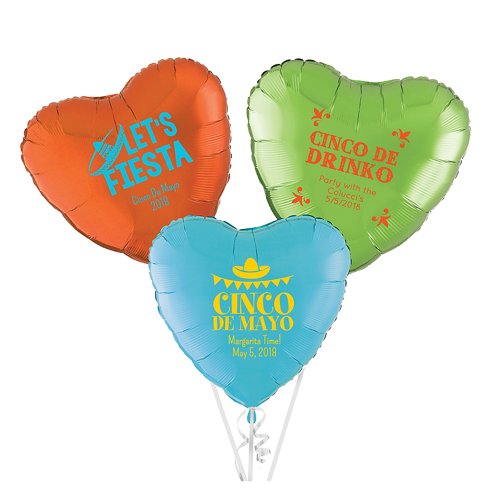 Personalized Cinco de Mayo Heart Balloon Image #1
