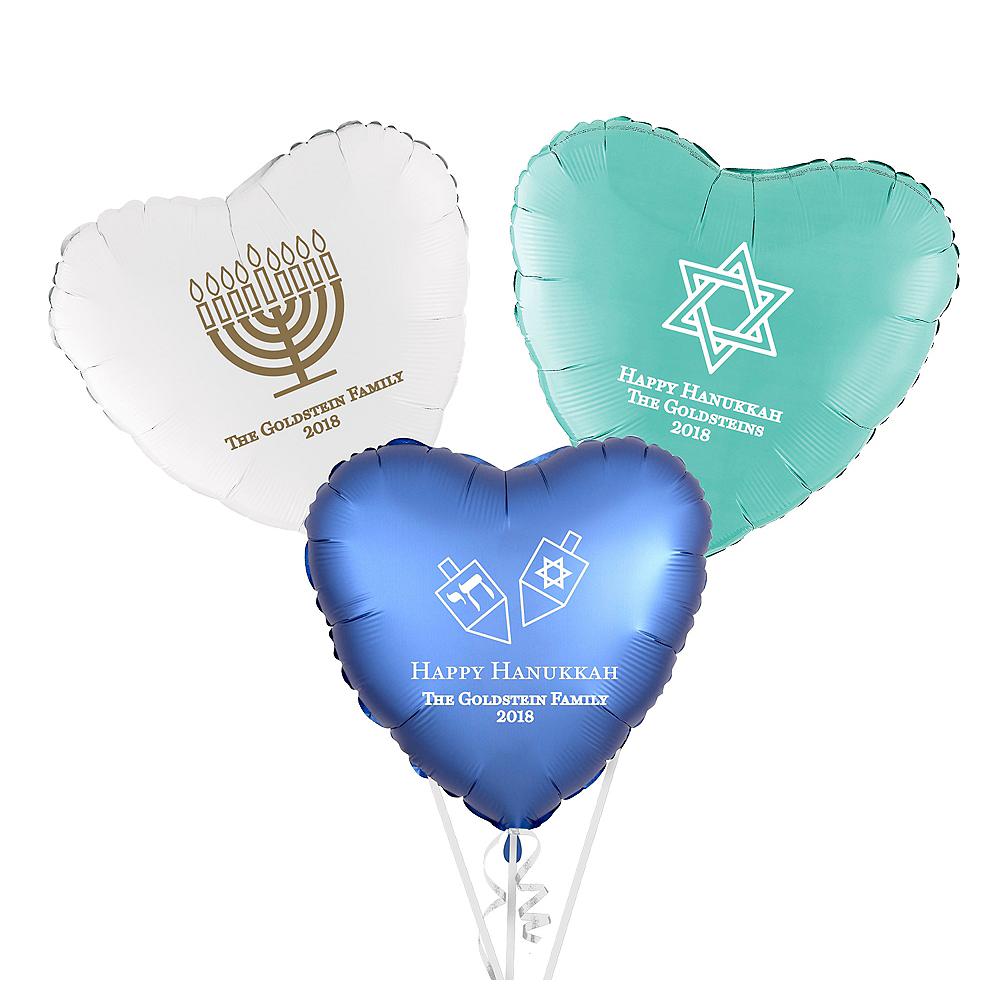 Personalized Hanukkah Heart Balloon Image #1