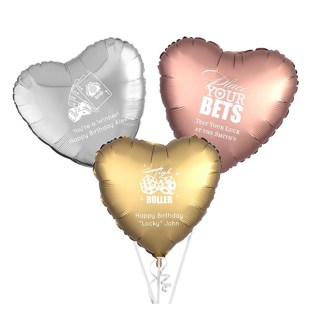 Personalized Casino Heart Balloon Image #1