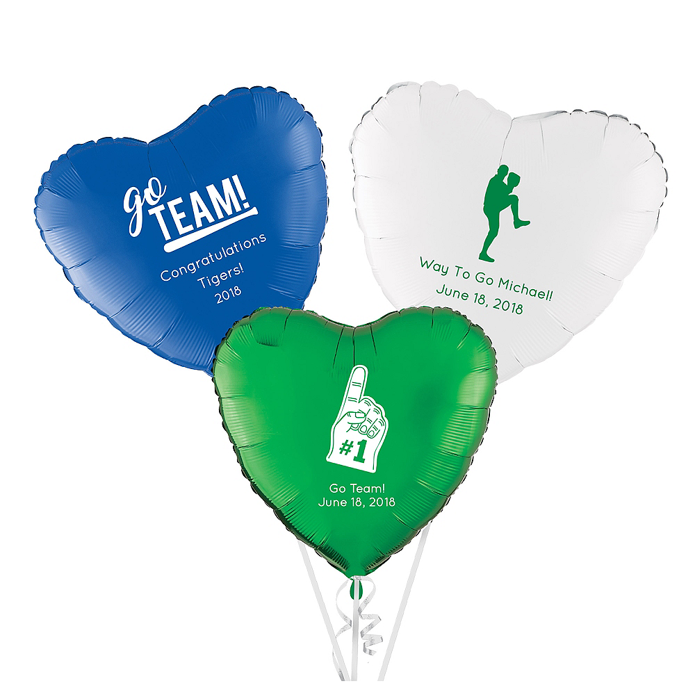 Personalized Baseball Heart Balloon Image #1