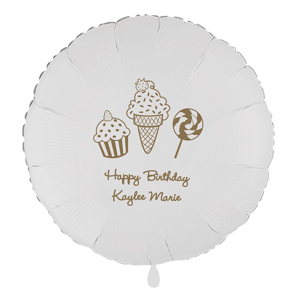 Personalized Girls Birthday Round Balloon Image #1