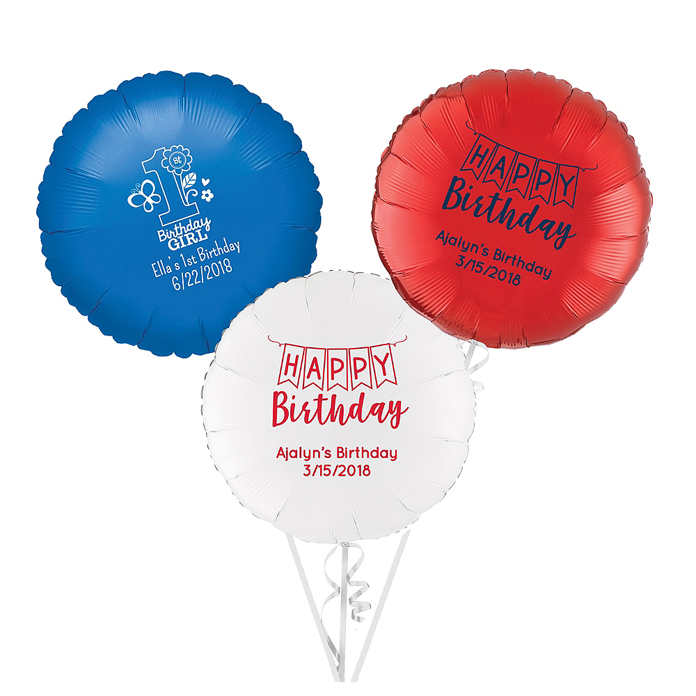 Personalized 1st Birthday Round Balloon Image #1