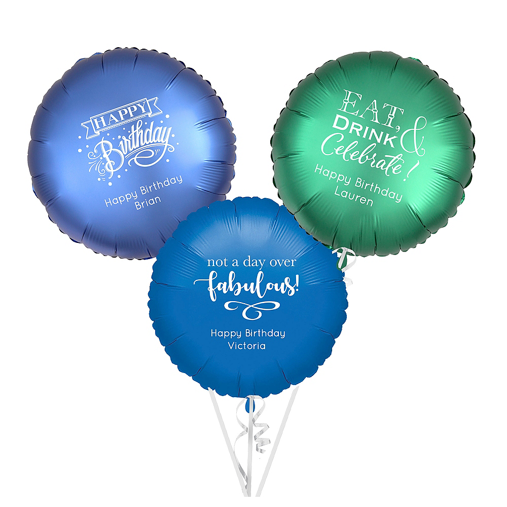 Personalized Happy Birthday Round Balloon Image #1