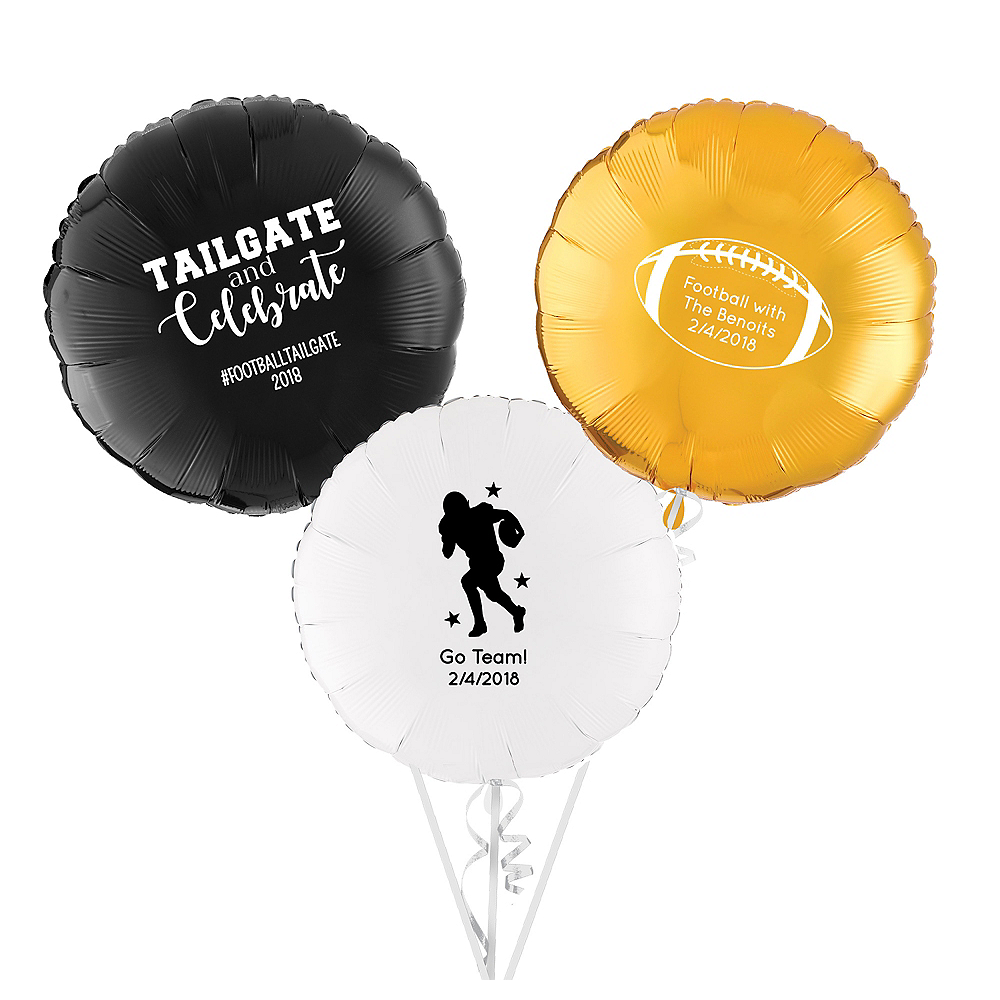 Personalized Football Round Balloon Image #1