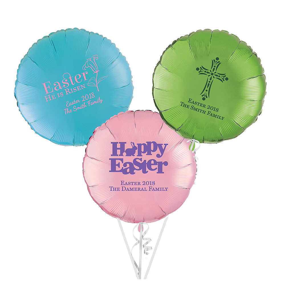 Personalized Easter Round Balloon Image #1