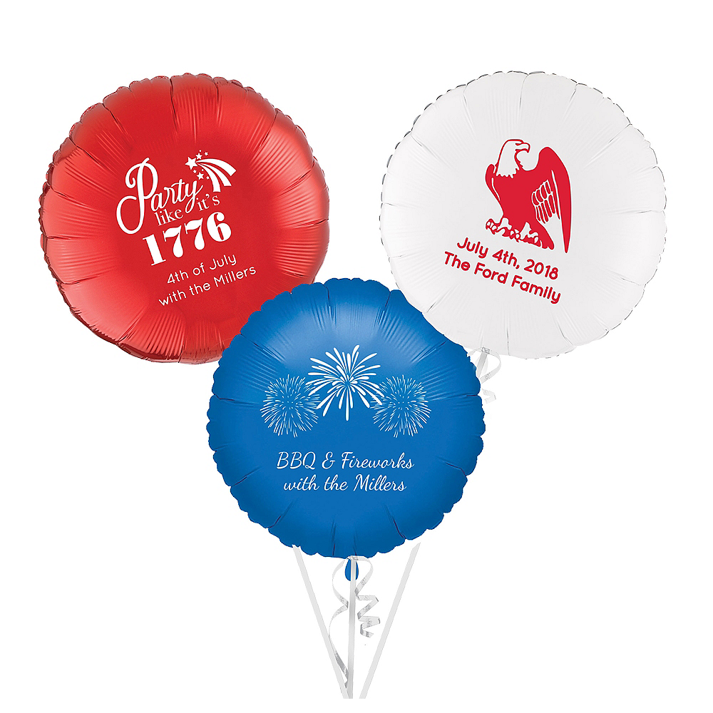 Personalized 4th of July Round Balloon Image #1