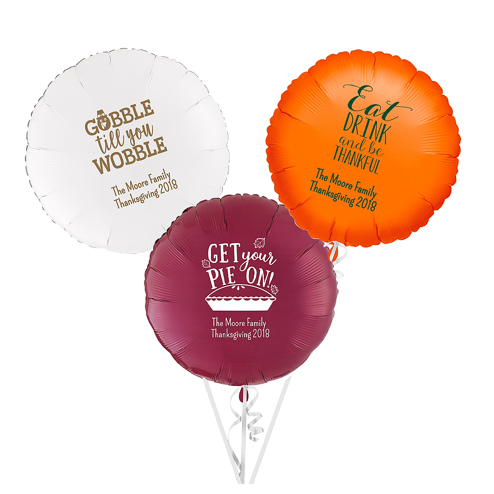 Personalized Thanksgiving Round Balloon Image #1