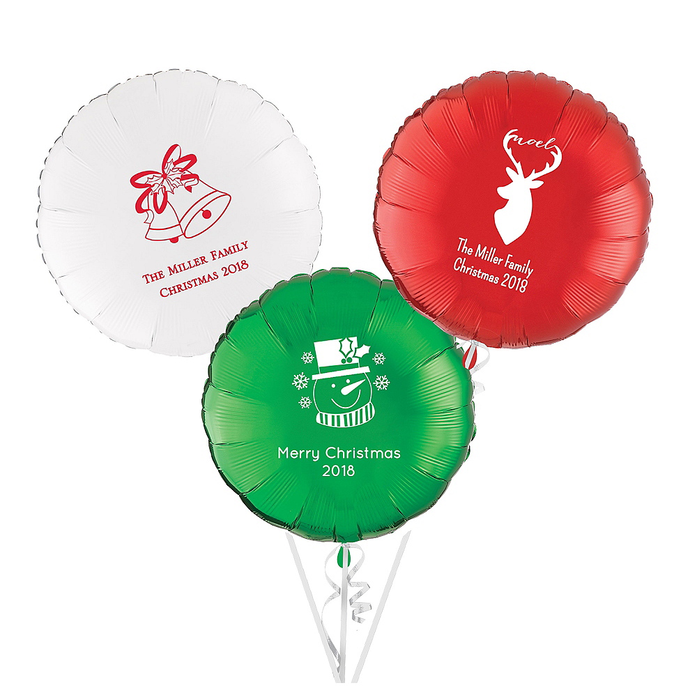 Personalized Christmas Round Balloon Image #1