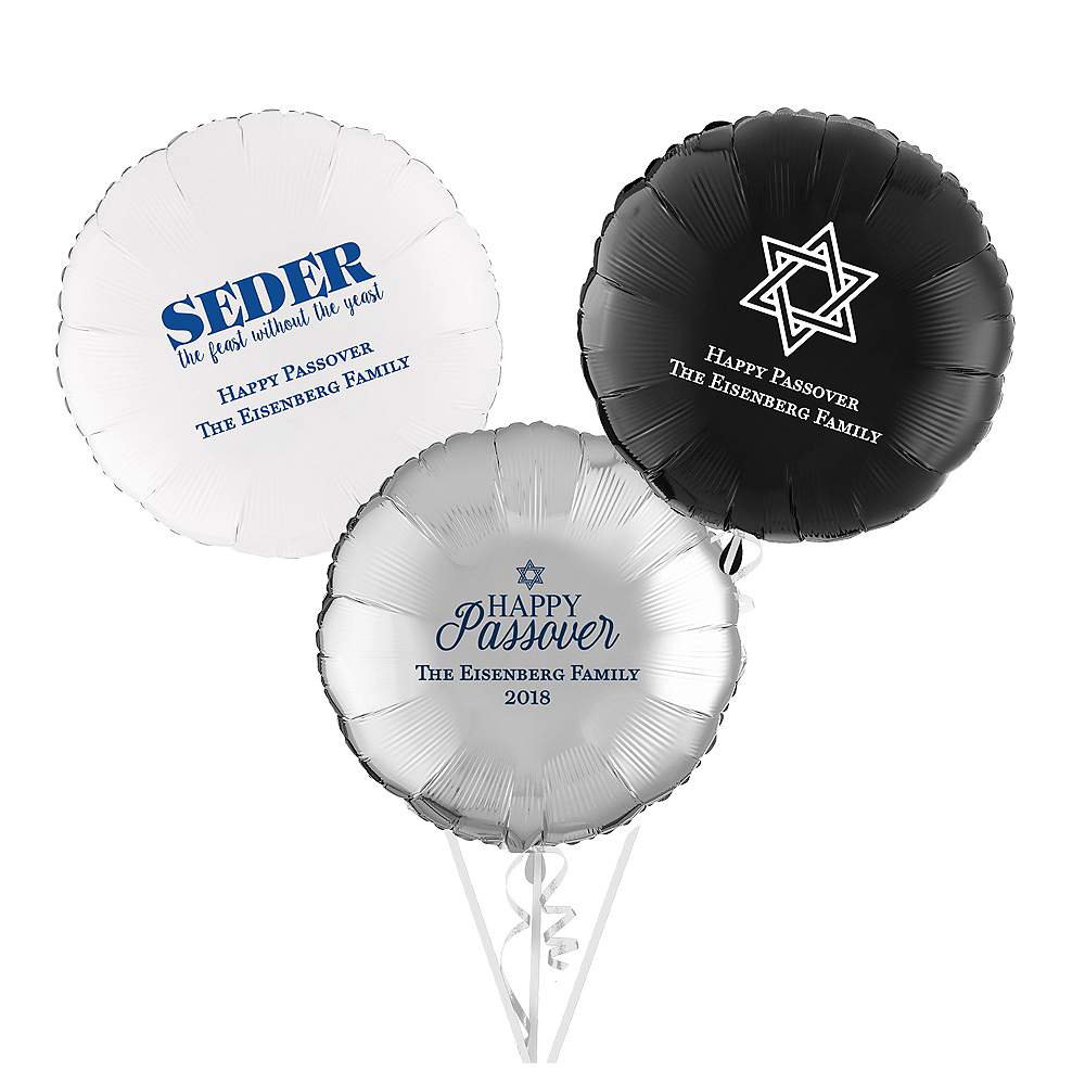 Personalized Passover Round Balloon Image #1