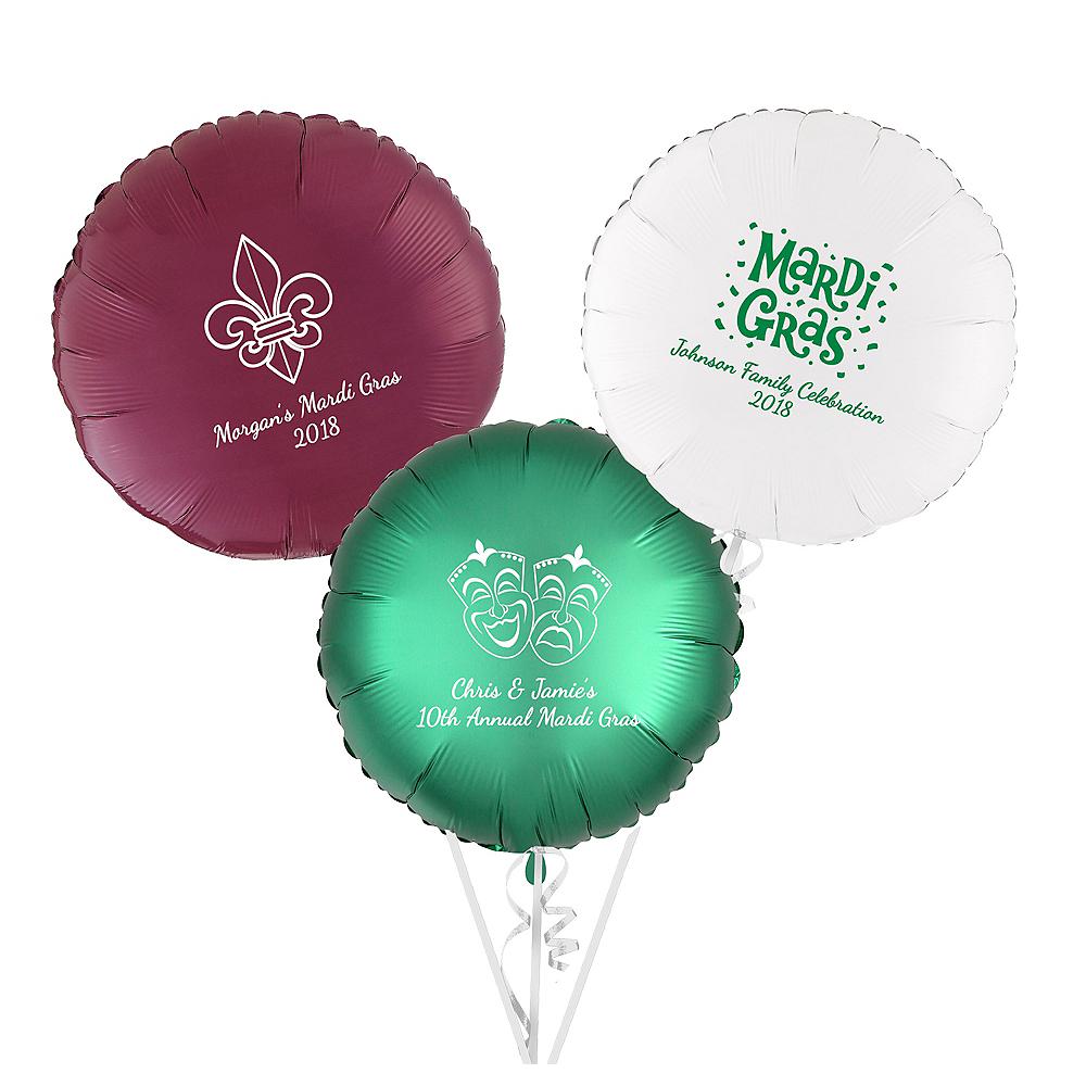 Personalized Mardi Gras Round Balloon Image #1