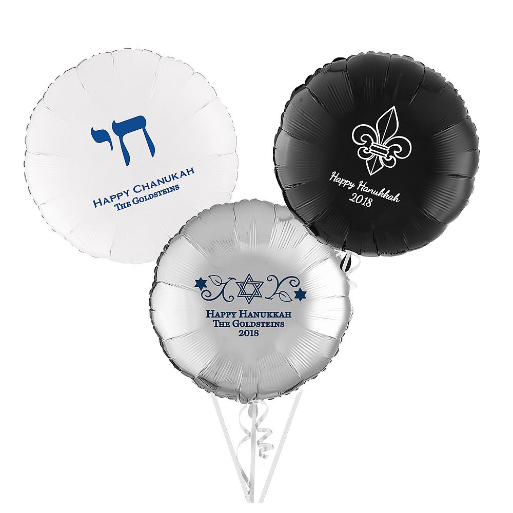 Personalized Hanukkah Round Balloon Image #1