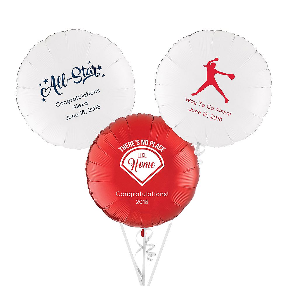 Personalized Baseball Round Balloon Image #1