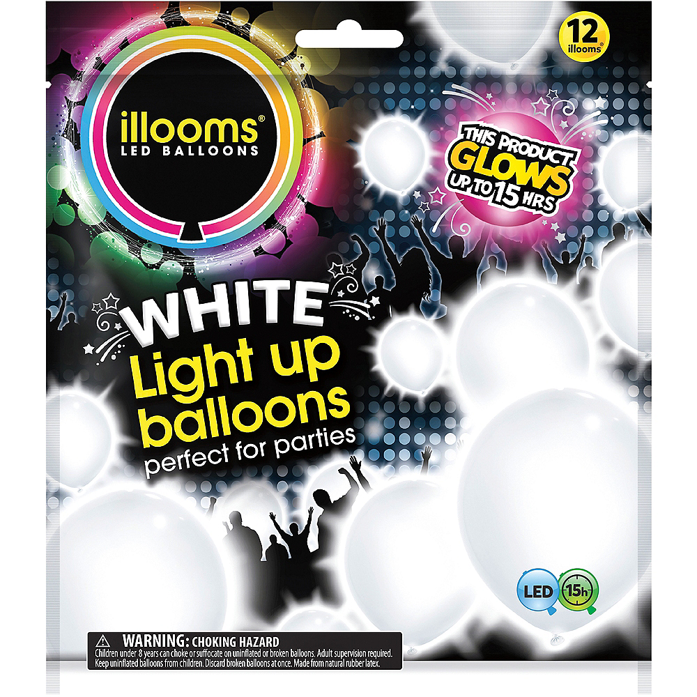 Illooms Light-Up White LED Balloons 12ct Image #1