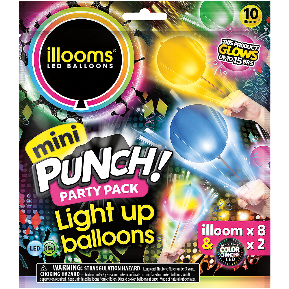 Illooms Light-Up Mini LED Punch Balloons 10ct, 7in Image #1