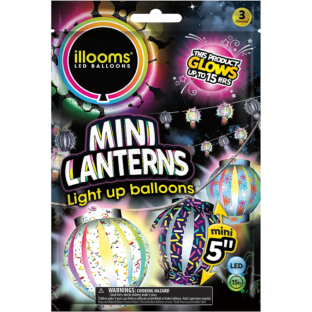 Illooms Light-Up Patterned LED Balloon Lanterns 3ct, 5in Image #1
