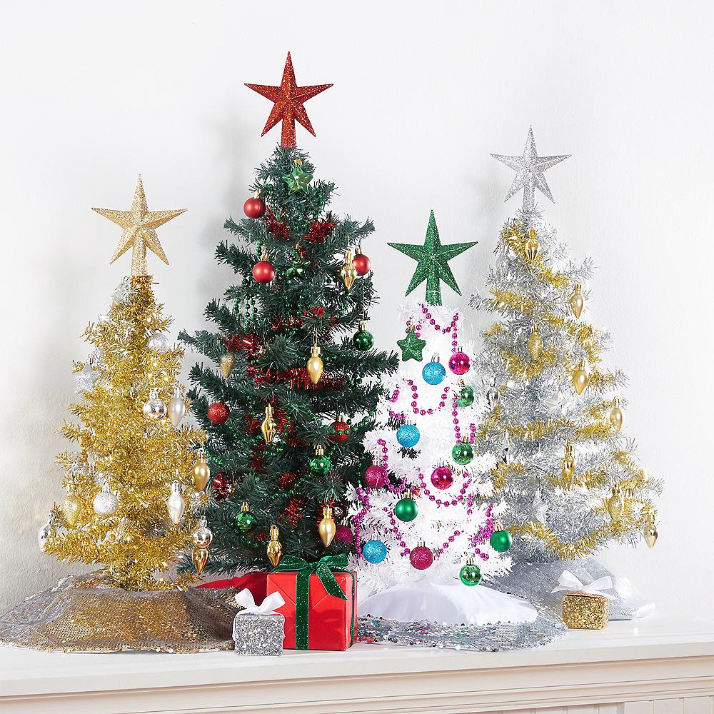 Mini Glitter Silver Star Tree Topper 4 1/2in x 5in | Party City