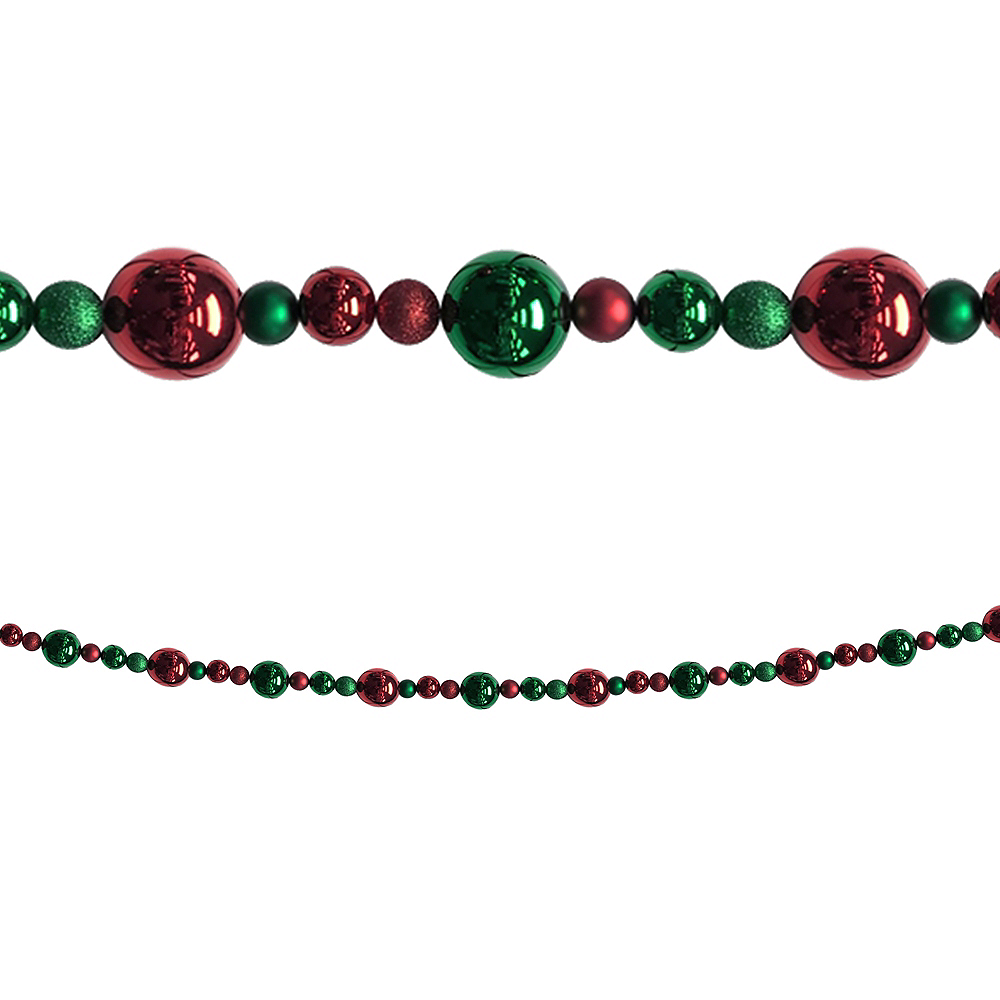 Green & Red Christmas Ornament Garland Image #1