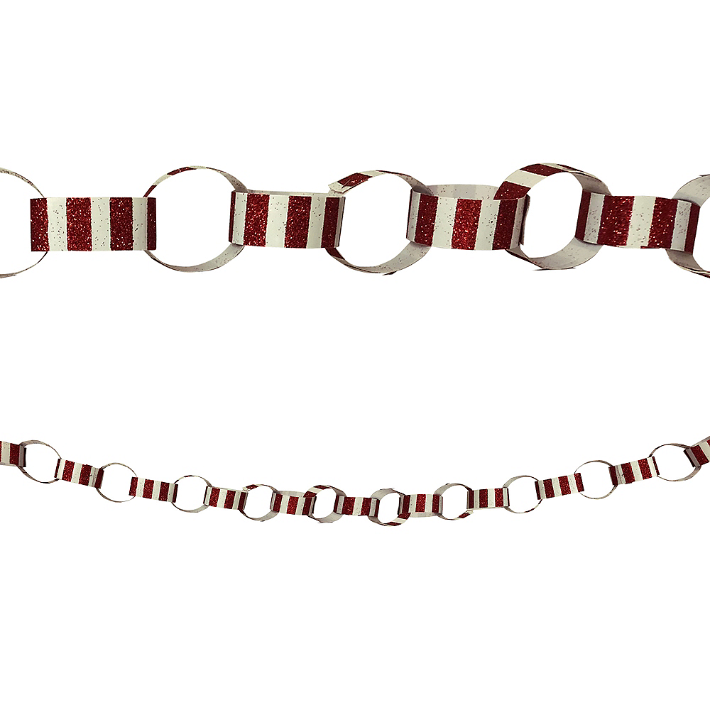 Glitter Red & White Chain Link Garland Image #1