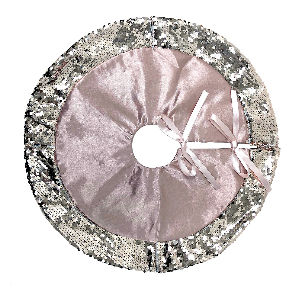 Rose Gold Sequin Tree Skirt 16in Party City