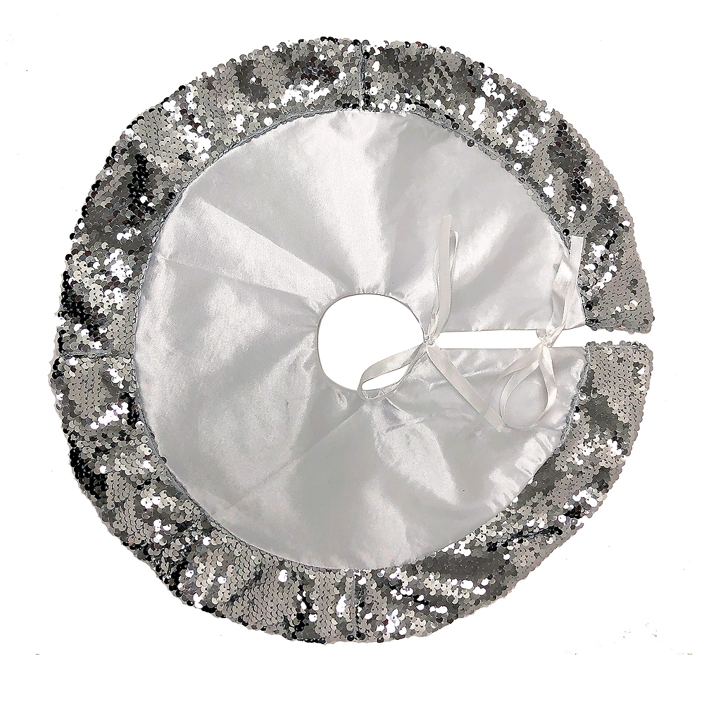 Silver Sequin Tree Skirt Image #1