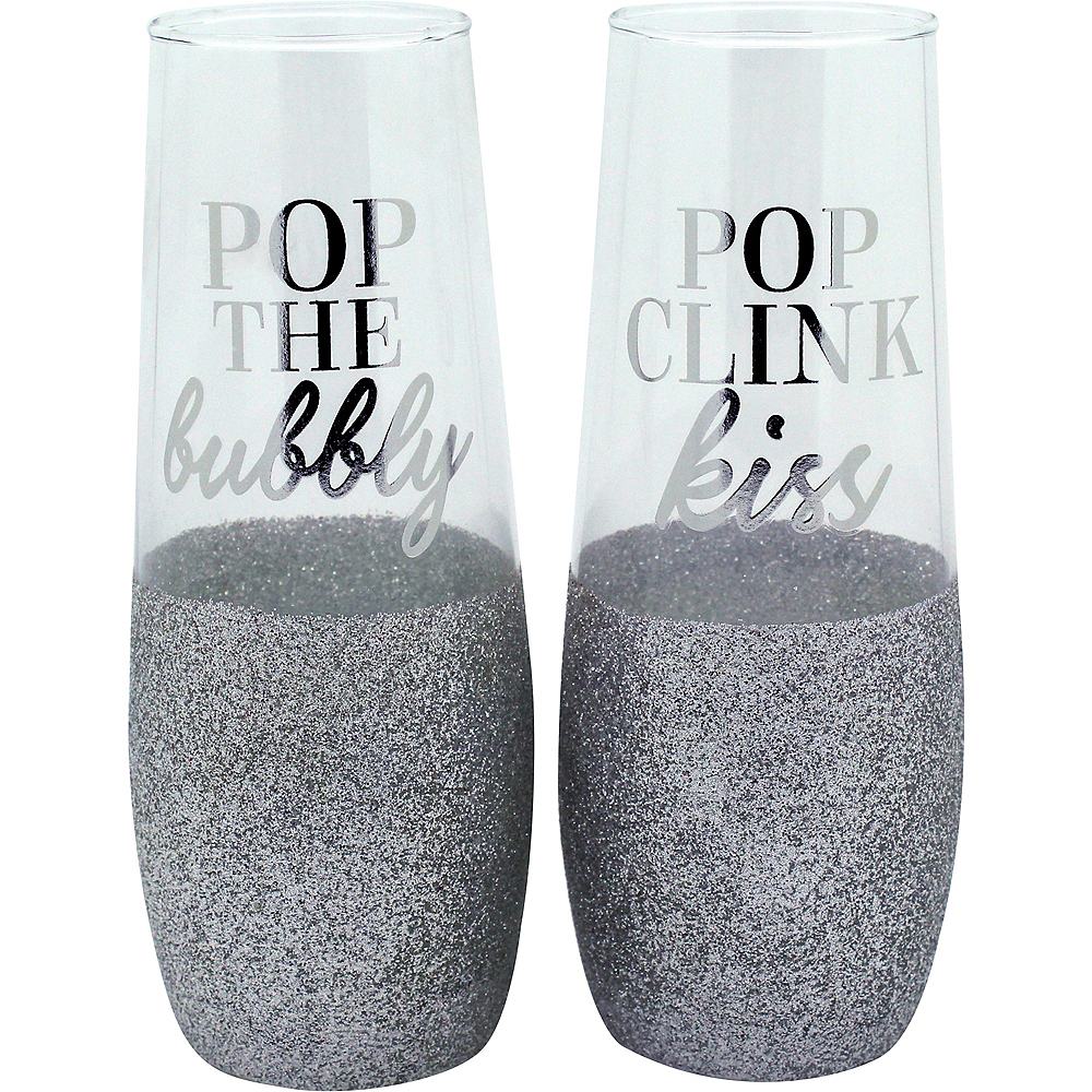 Glitter Silver Stemless Champagne Flutes 2ct Image #1