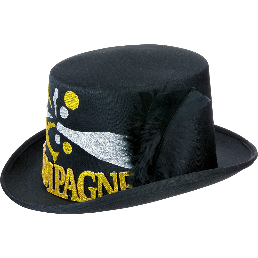 Black, Gold & Silver Champagne Top Hat Image #2