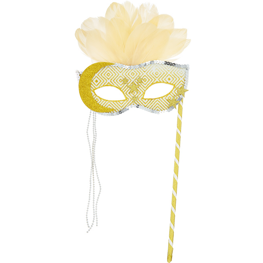 Gold Moon & Stars Masquerade Mask on a Stick Image #1