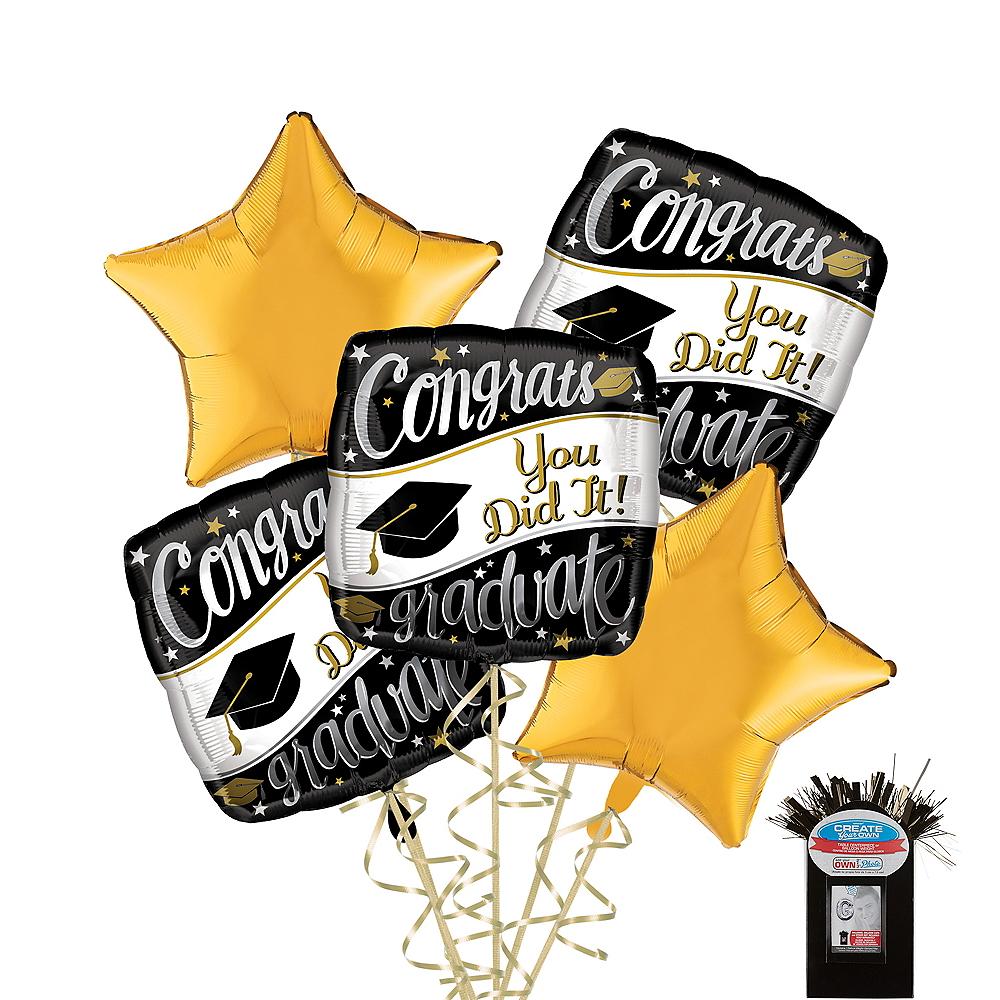 Black, White & Gold Congrats Graduate Gold Star Balloon Kit Image #1
