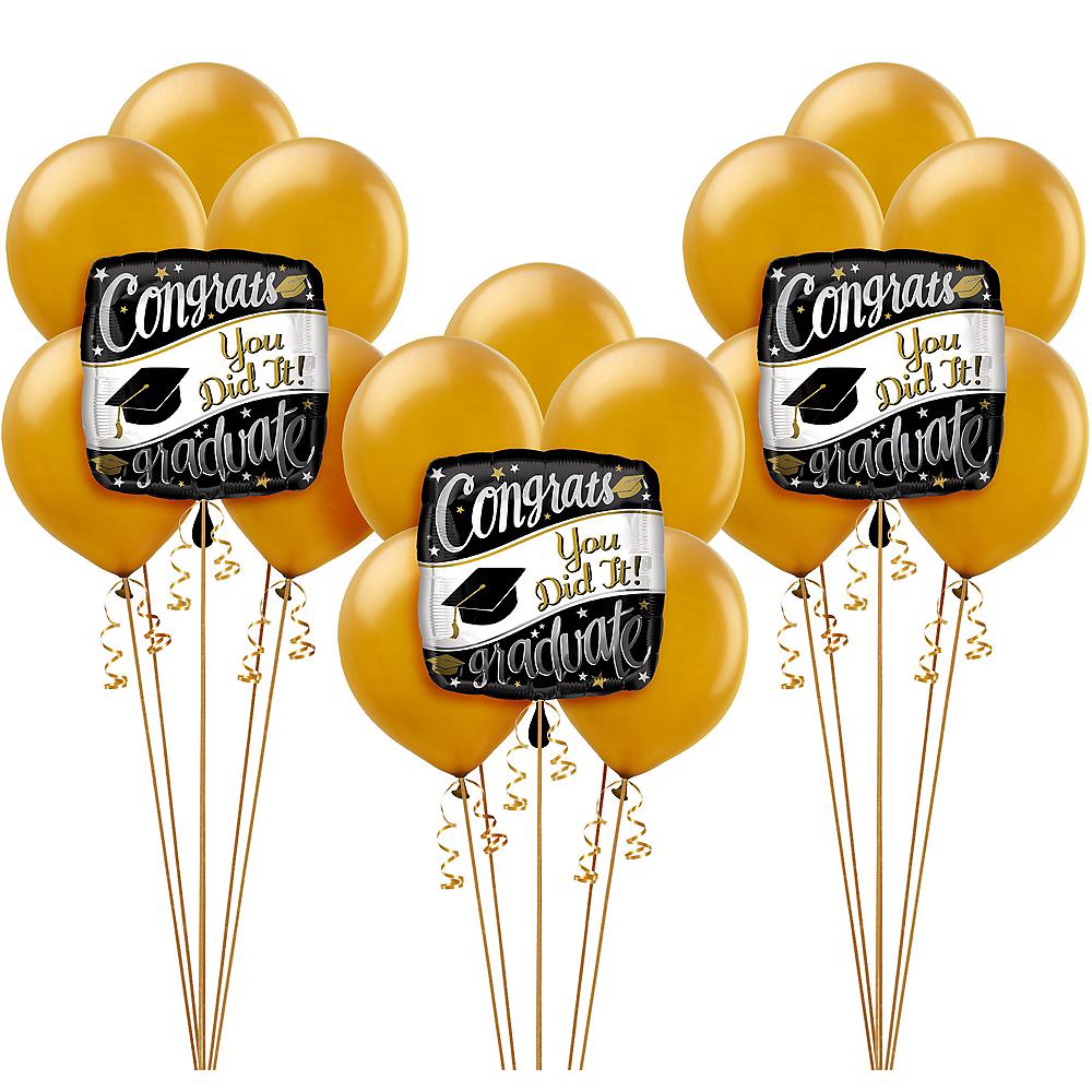 Black, White & Gold Congrats Graduate Balloon Kit Image #1