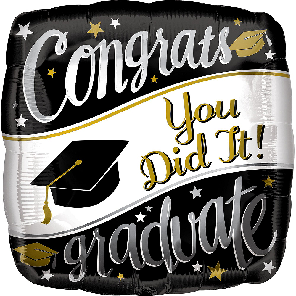 Black, White & Gold Congrats Graduate Balloon Kit Image #3