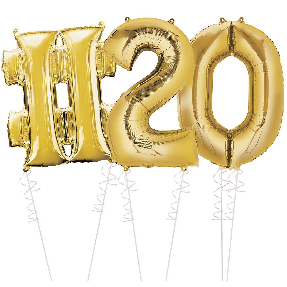 Giant Gold Hashtag 20 Balloon Kit Image #1