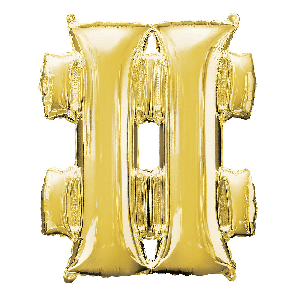 Giant Gold Hashtag 19 Balloon Kit Image #2