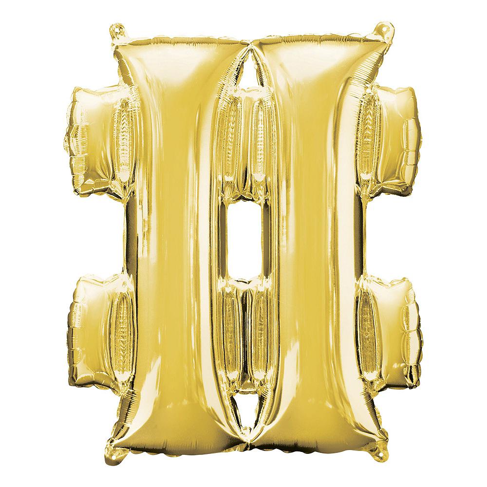 Giant Gold Hashtag 20 Balloon Kit Image #2