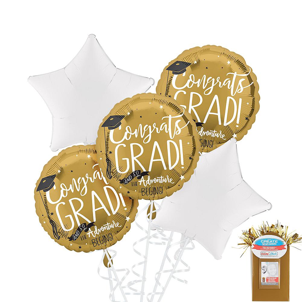 Metallic Gold The Adventure Begins Graduation White Star Balloon Kit Image #1