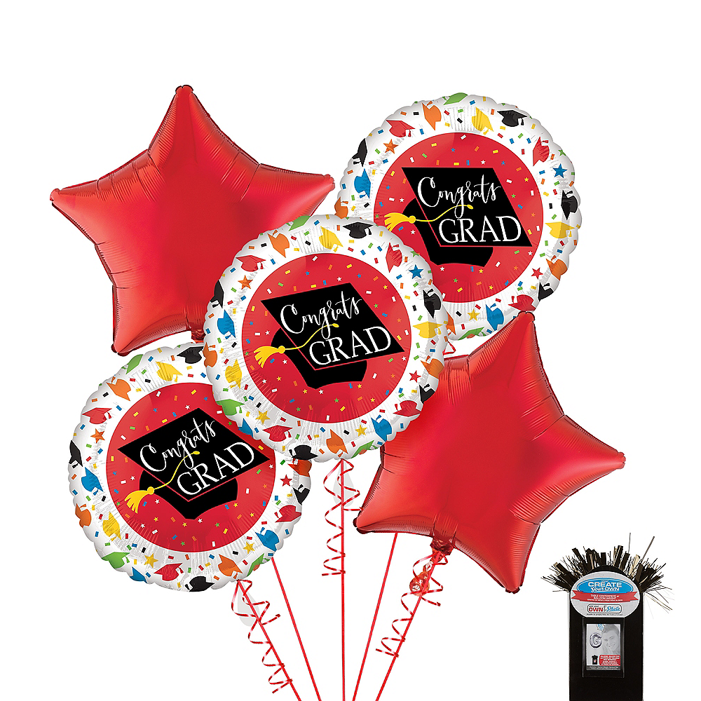 Nav Item for Confetti Caps Graduation Red Star Balloon Kit Image #1