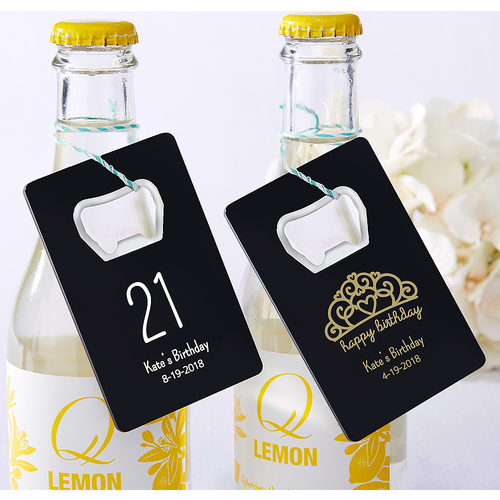 Personalized Credit Card Bottle Openers - Black (Printed Plastic) Image #1